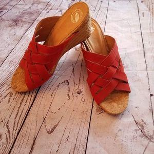 "Red 9.5 wedge heel sandals ""Nuture"" Brand"